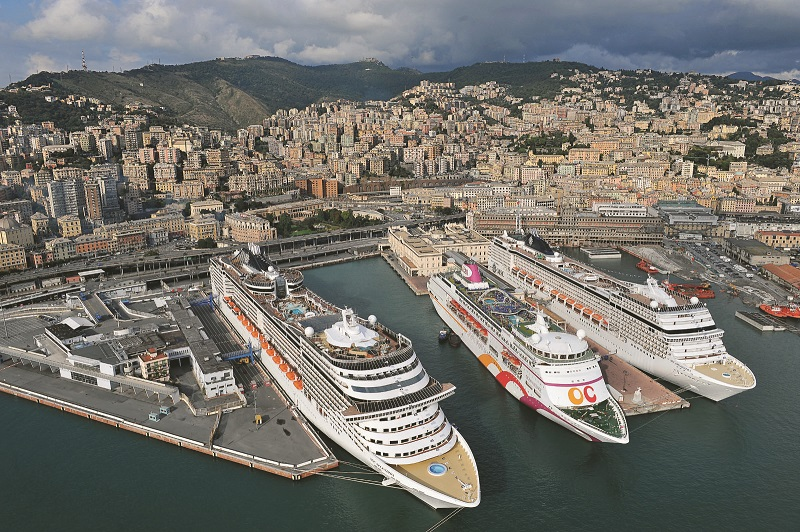 Cruise terminal of Genoa in Italy