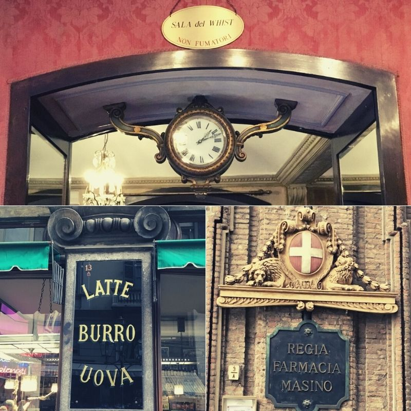 Historical signs and advertisements in original shops of Turin