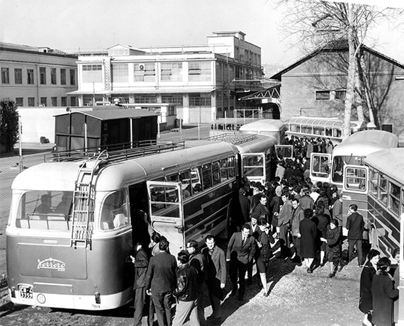 Ferrero buses bringing workers to the factory
